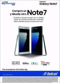 Telcel: Samsung Galaxy Note 7 al 2x1 en plan 600 a $24 meses
