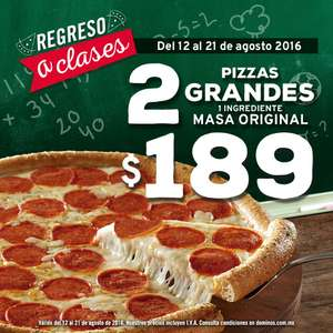 Domino's Pizza: 2 pizzas grandes de un ingrediente a $189