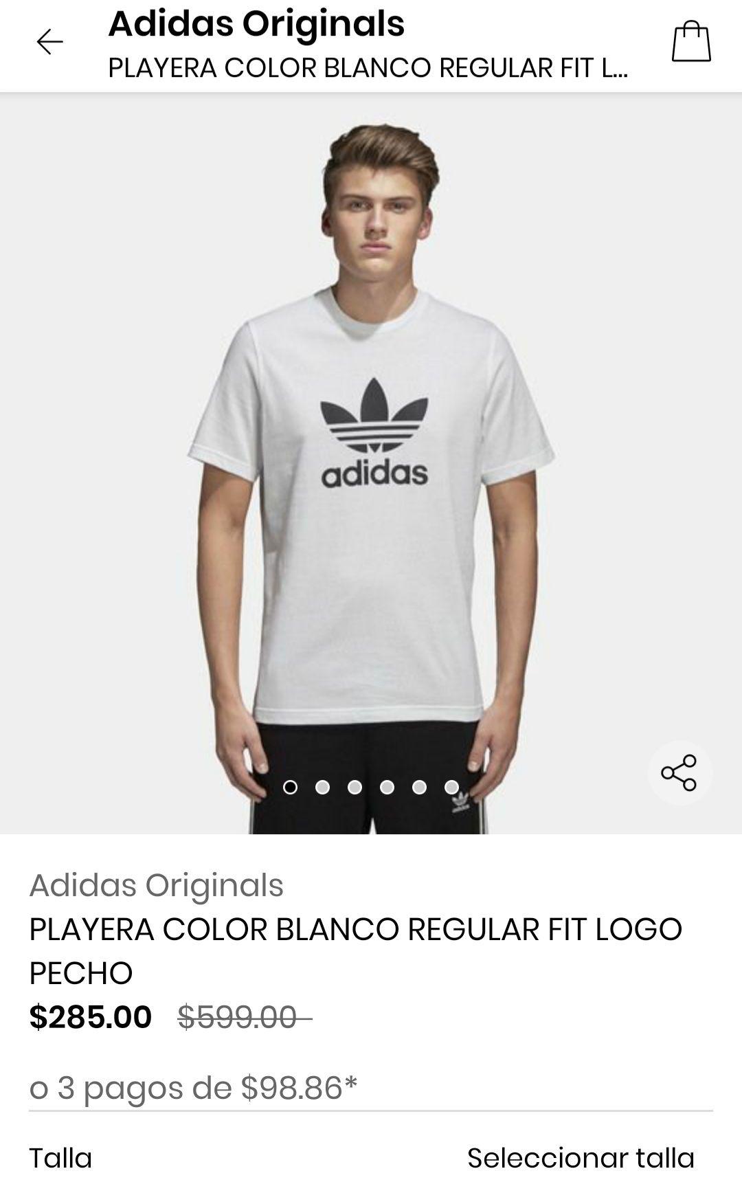 Privalia: Playeras adidas trifolio más baratas que adidas y costo de envio menor. Todas las tallas.