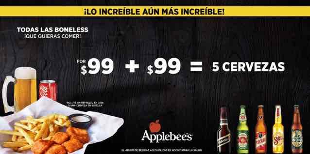 Applebee's: Boneless ilimitadas $99 + $99 5 cervezas