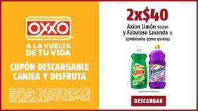 Oxxo: Cupón descargable Para Axion lavatrastes 900ml y Fabuloso Lavanda 1Lt.