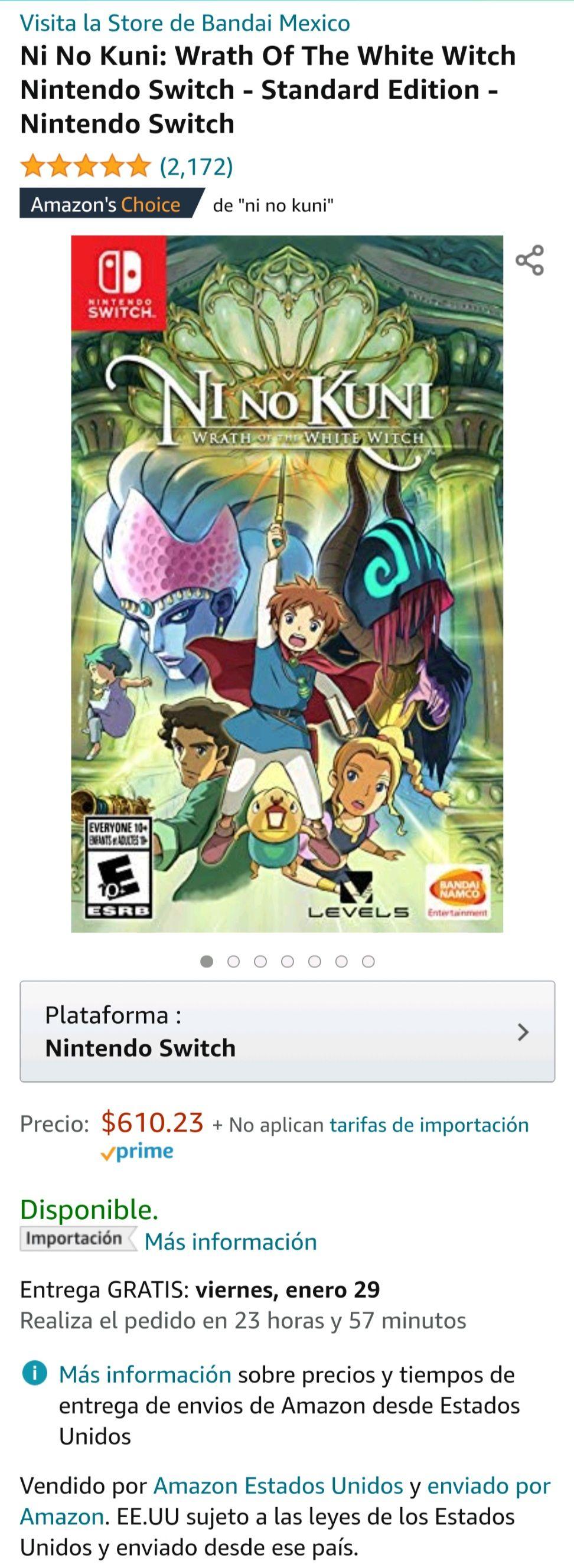 Amazon: Ni No Kuni: Wrath Of The White Witch Nintendo Switch - Standard Edition