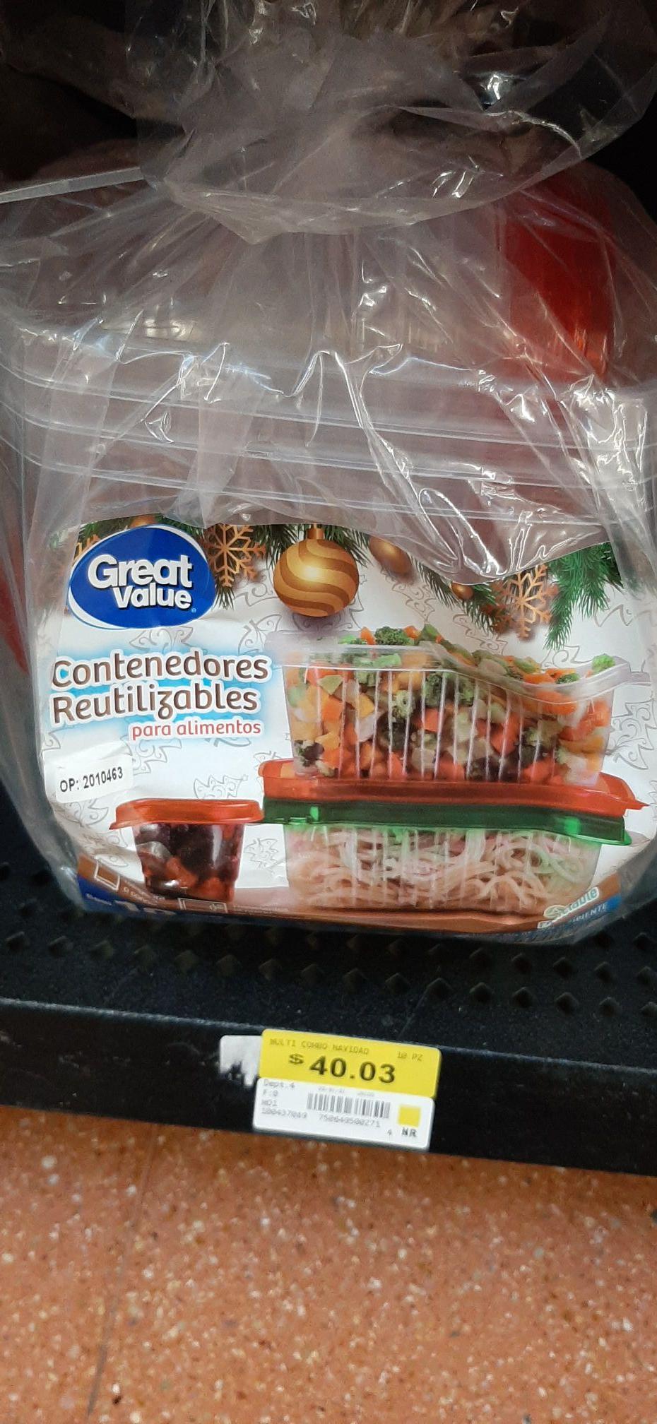 Walmart: 10 Contenedores reutilizables Great Value