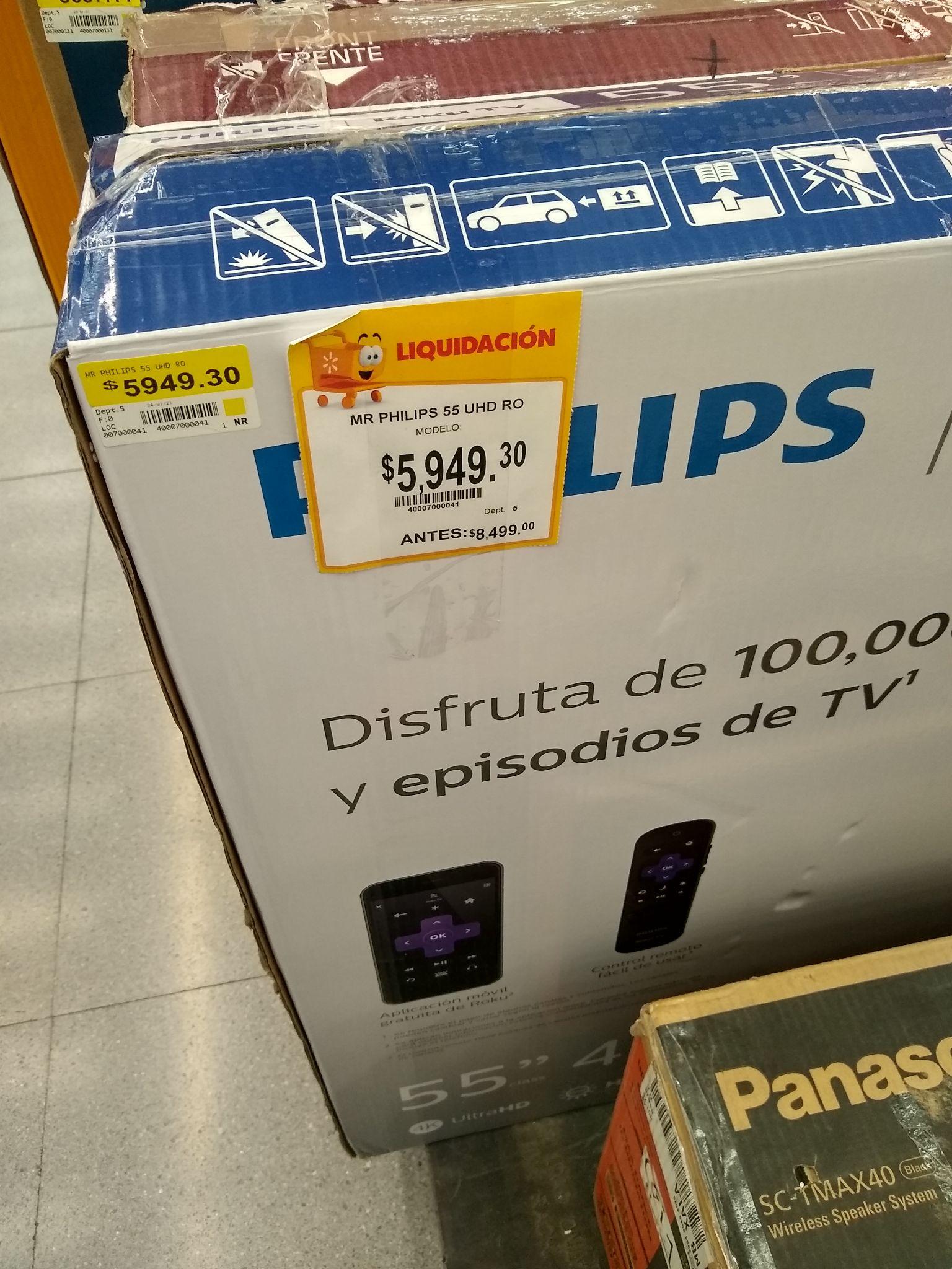 """Walmart: Pantalla Philips 55"""" UHD Roku TV"""