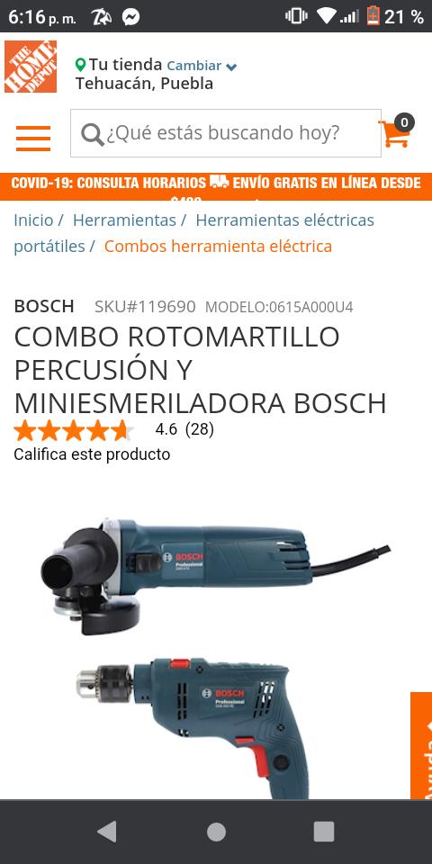 Home Depot: COMBO ROTOMARTILLO PERCUSIÓN Y MINIESMERILADORA BOSCH