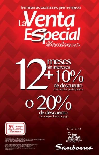 Venta Especial Sanborns: 10% de descuento y 12 MSI o 20% de descuento