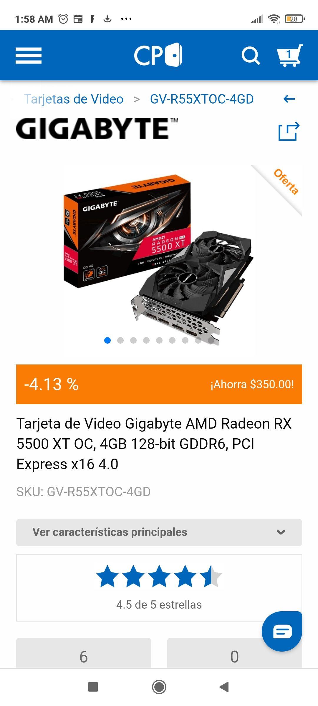 CYBERPUERTA: TARJETA gráfica Radeon RX5500