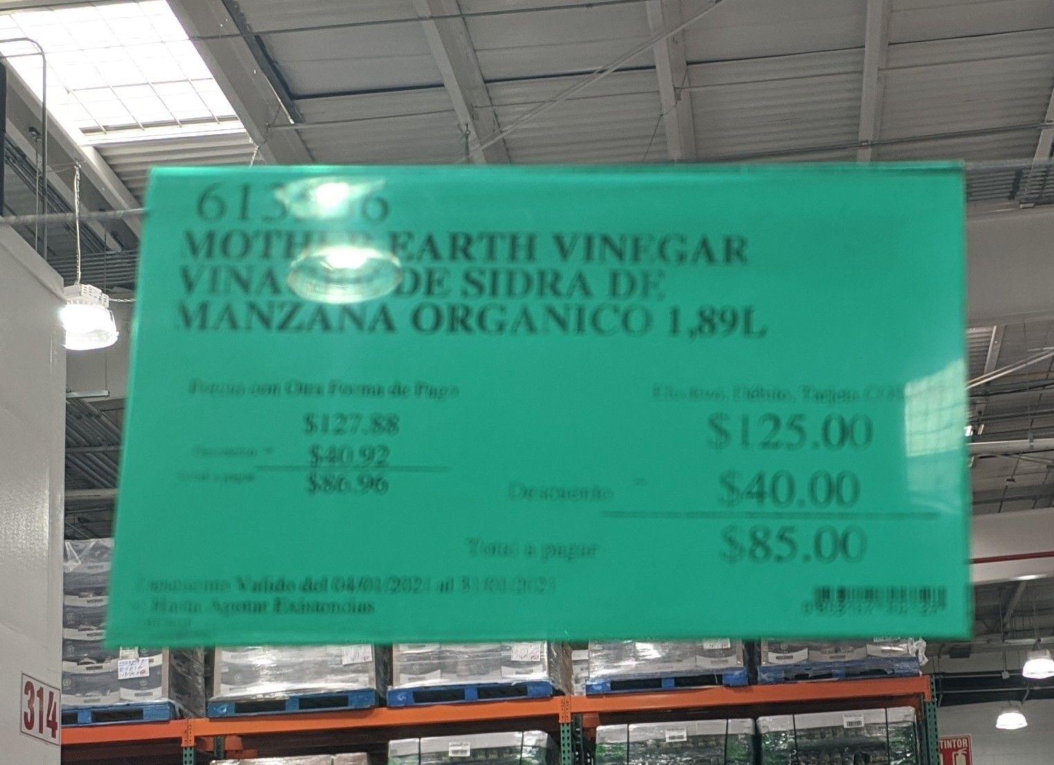 Costco - 1.89L Vinagre de Sidra de Manzana Organico incluye la madre