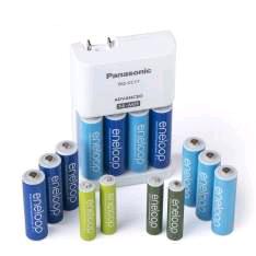 Amazon: Panasonic K-KJ17MZ104A Eneloop -Cargador de baterías avanzadocon paquete de energía de pilas de colores 10AA y 4AAA