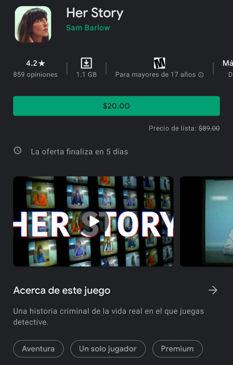 Google Play - Her Story (Inglés | by Sam Barlow)