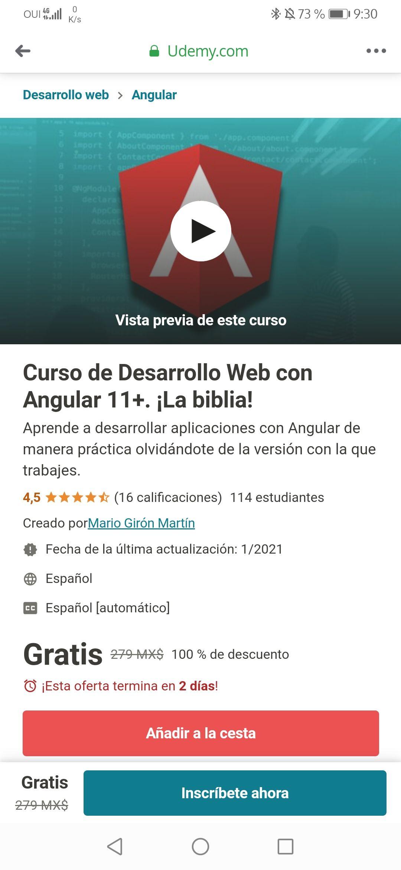Udemy: Curso de Desarrollo Web con Angular 11+. ¡La biblia!