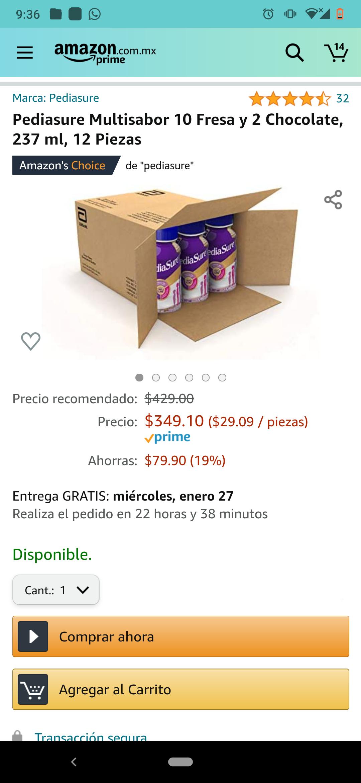 Amazon: Pediasure 12 piezas