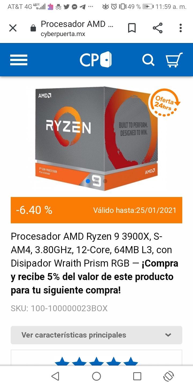 CyberPuerta: Procesador AMD Ryzen 9 3900X, S-AM4, 3.80GHz, 12-Core, 64MB L3, con Disipador Wraith Prism RGB (Baja más con bonificación)