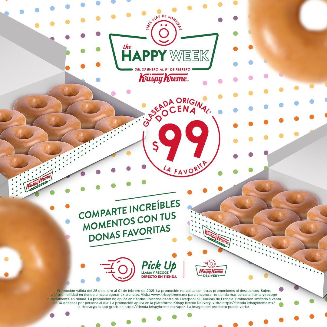 Krispy Kreme: The Happy Week Docena de Donas Glaseadas $99