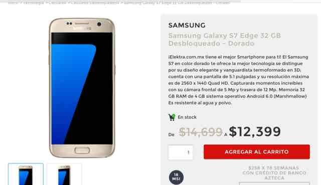 Elektra en línea: Galaxy s7 Edge 32Gb