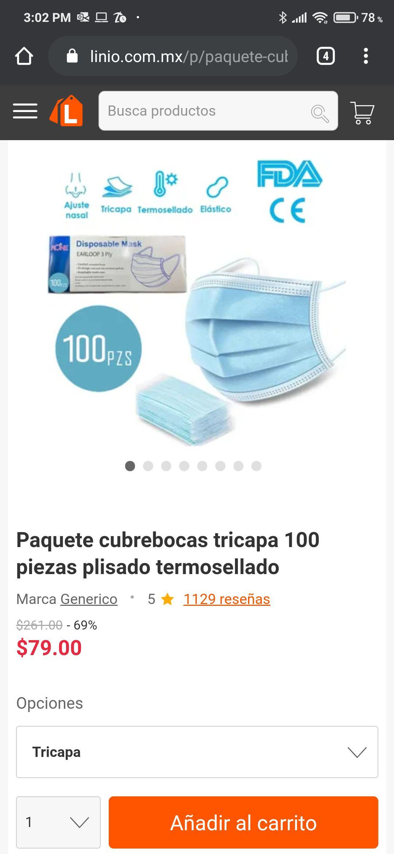 Linio: Paquete cubreboca tricapa 100 piezas