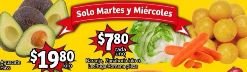 Soriana Mercado y Express: Frescura de Mercado 26 y 27 Enero: Naranja ó Zanahoria $7.80 kg... Lechuga $7.80 pza... Aguacate $19.80 kg.