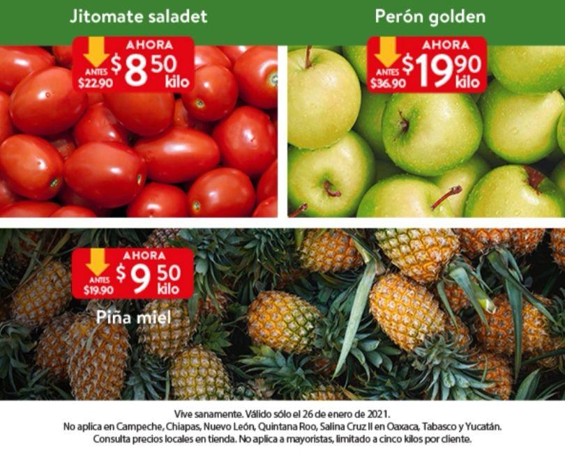 Walmart: Martes de Frescura 26 Enero: Jitomate $8.50 kg... Piña $9.50 kg... Perón Golden $19.90 kg.