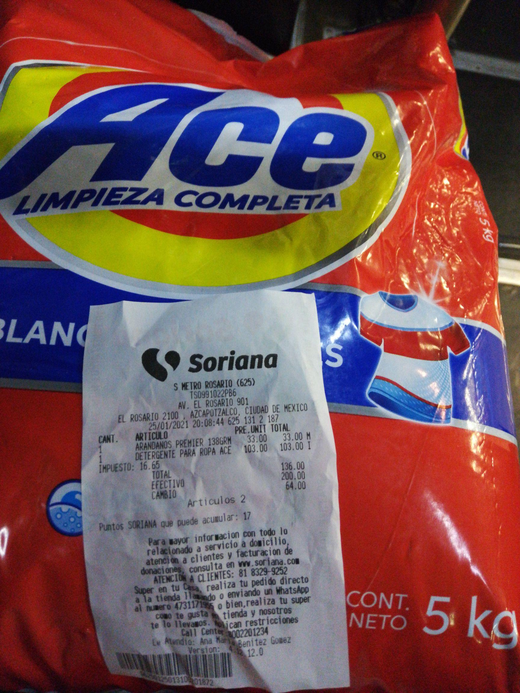 Soriana: Detergente en polvo Ace Blancos y Colores 5Kg