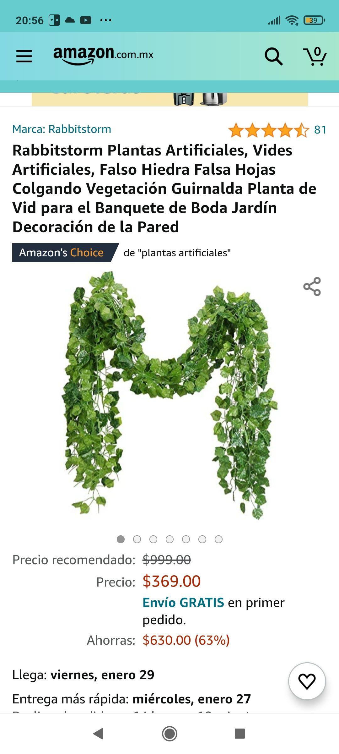 Amazon Rabbitstorm Plantas Artificiales, Vides Artificiales, Colgando Vegetación Guirnalda Planta de Vid para Jardín Decoración de la Pared