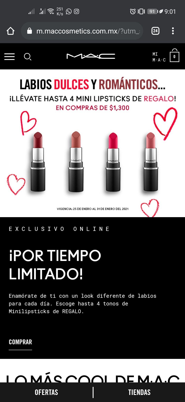 MAC 4 mini lipsticks gratis en compras de 1300 más cupón de 15% de descuento