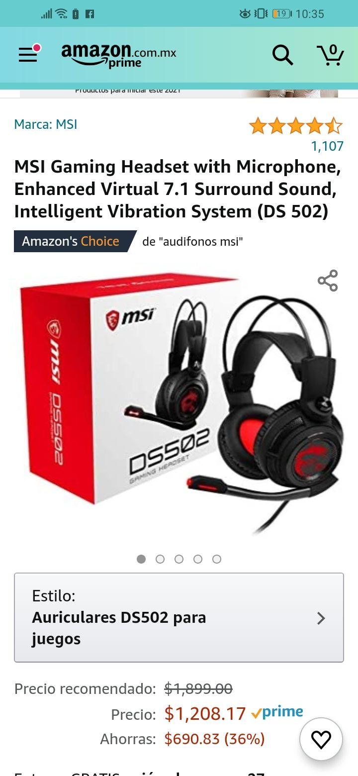 Amazon: Audifonos gamer MSI