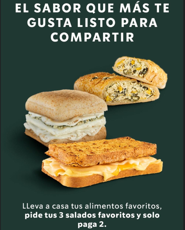 Starbucks: 3x2 en Alimentos Salados