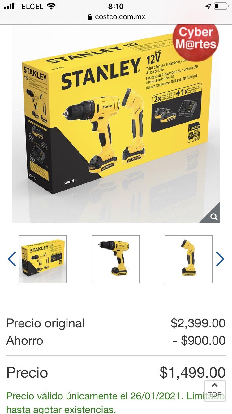 Costco online: Stanley, Kit Taladro Percutor Inalámbrico de 3/8 pulg 12V MAX + linterna de 12 V Li-on