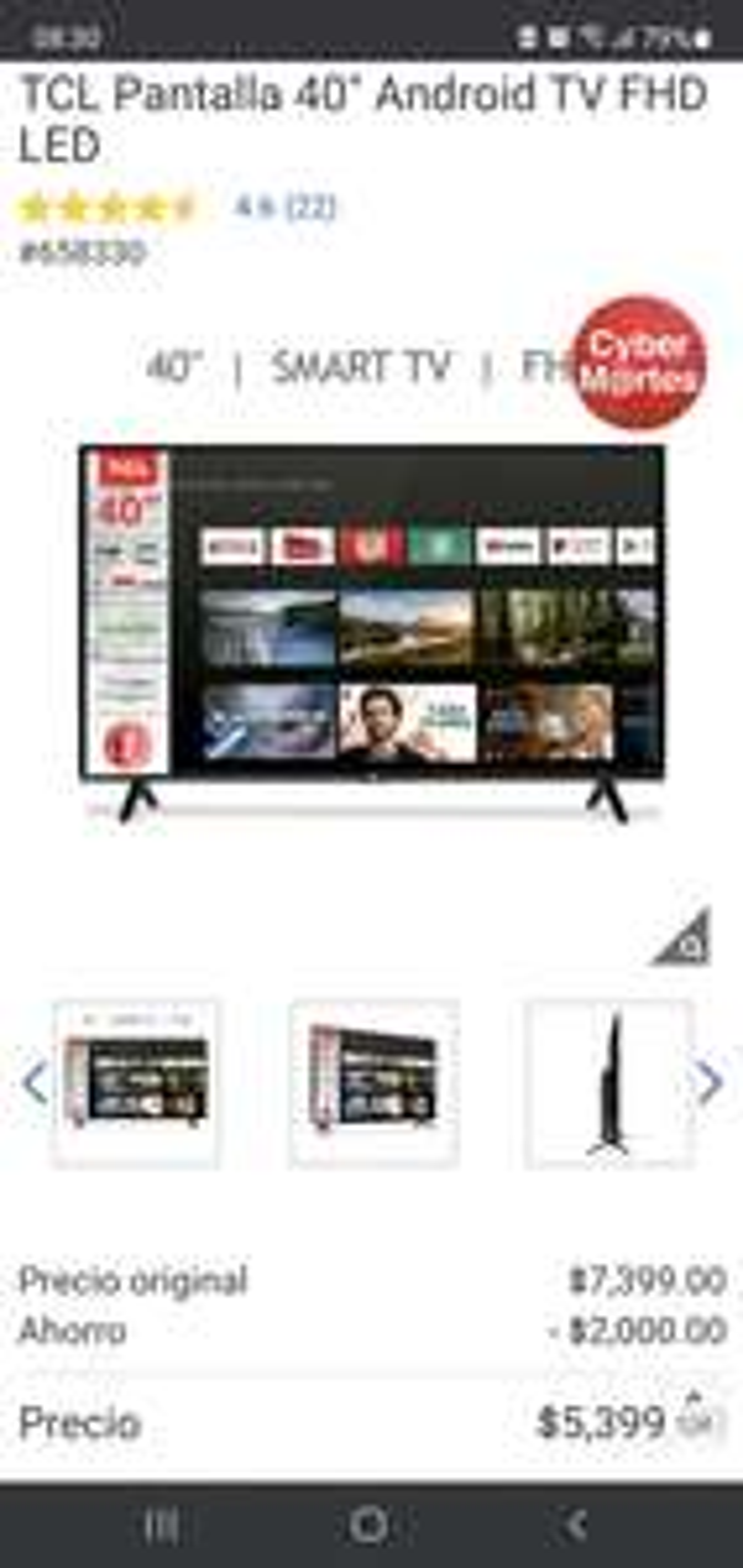 "Costco: TCL Pantalla 40"""" Android TV FHD LED"