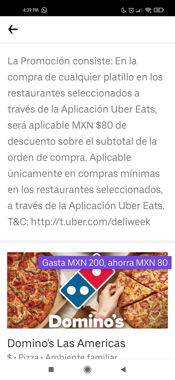 Uber eats en la compra minima $200 en tiendas participantes te descuentan $80 en el total de tu pedido (ilimitado hasta el 27 de enero)