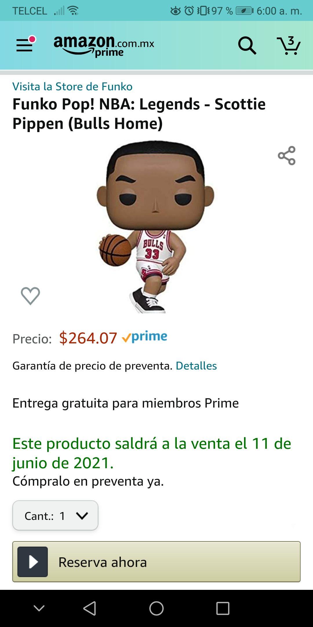 Amazon: PREVENTA: Funko Pop! NBA: Legends - Scottie Pippen (Bulls Home)