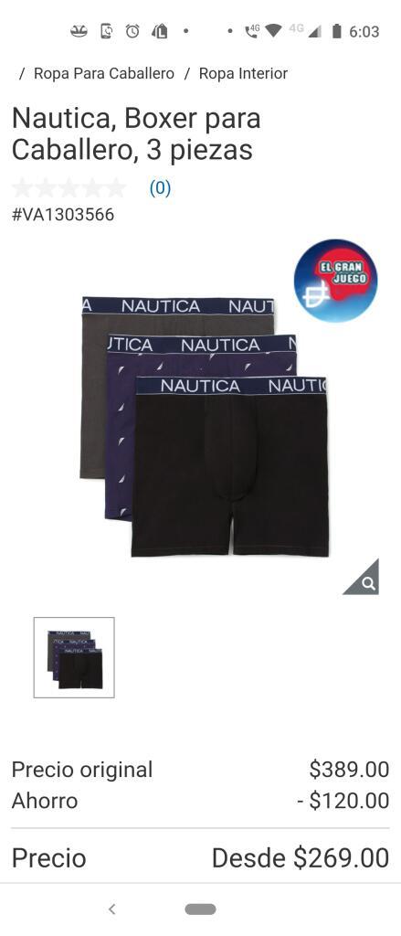 Costco : Paquete 3 boxer Nautica