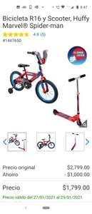 Costco :Bicicleta R16 y Scooter, Huffy Marvel® Spider-man