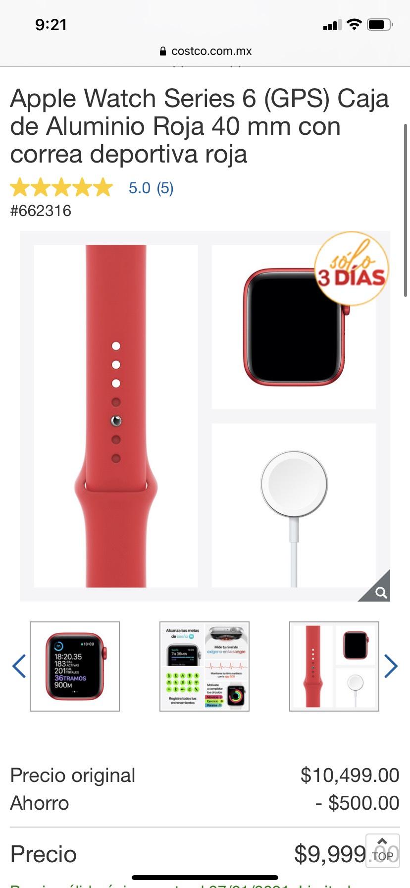 Costco, Apple Watch Series 6 rojo
