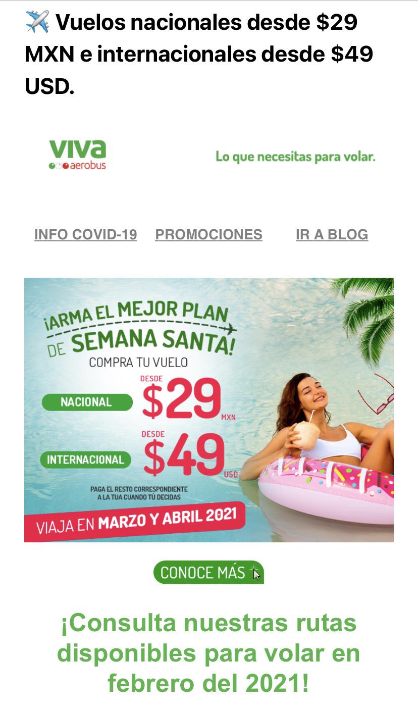 Vivaaerobus: Vuelos nacionales desde $29 MXN e internacionales desde $49 USD.