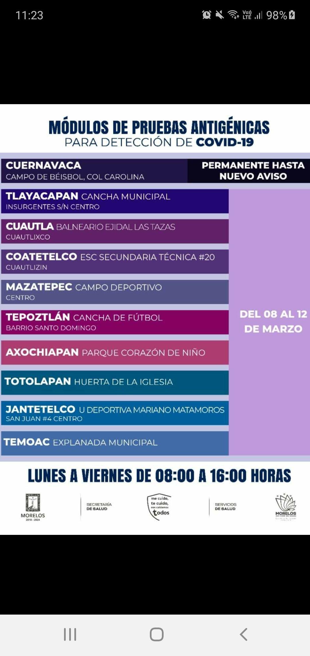 MORELOS: PRUEBAS COVID-19 GRATUITAS (del lunes 08 al 12 de marzo) cuernavaca permanente