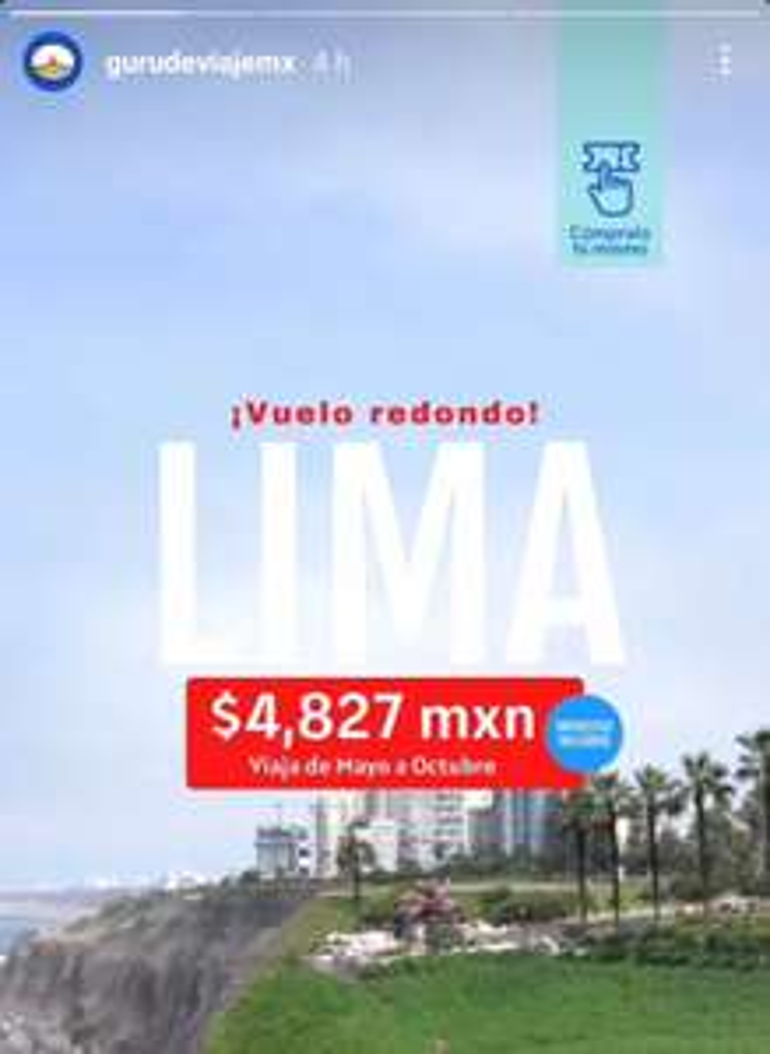 Vuelo Redondo a Lima, de Mayo a Octubre