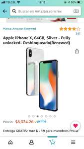 Amazon: iPhone X - Silver 64 GB Renewed