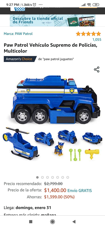 Paw Patrol vehículo supremo - amazon