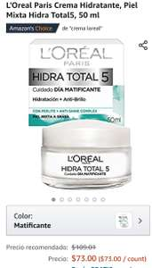 Amazon: L'Oreal Paris Crema Hidratante, Piel Mixta Hidra Total5, 50 ml Amazon'sChoicede ""