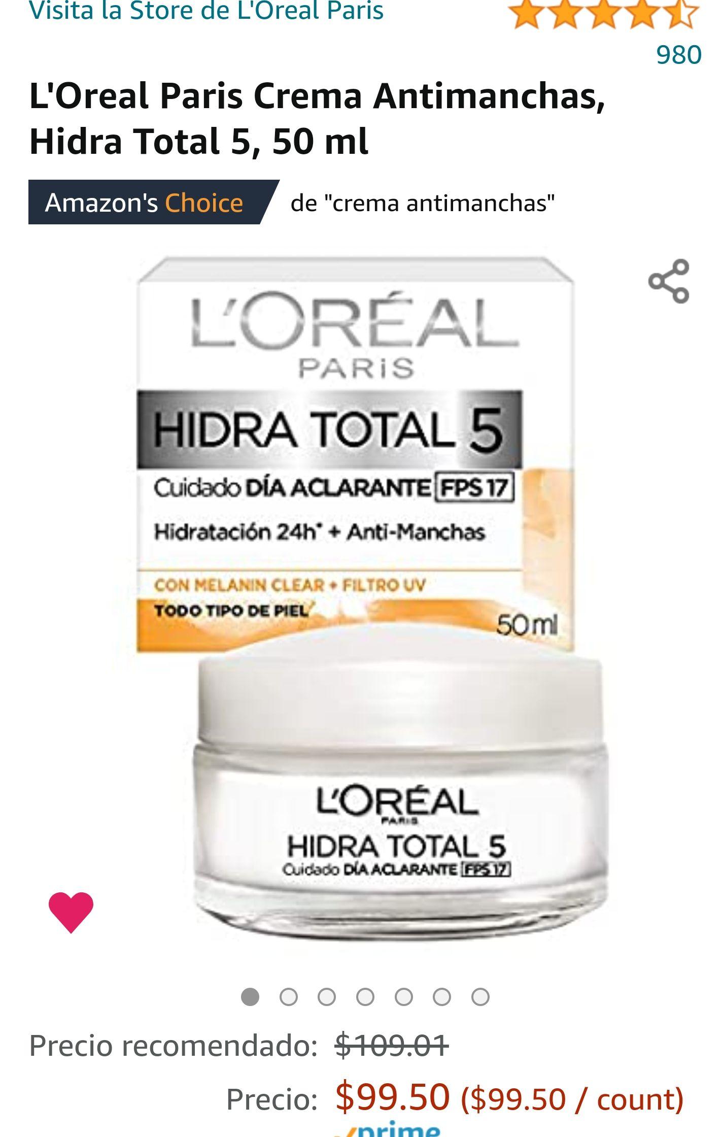 Amazon: L'Oreal Paris Crema Antimanchas, Hidra Total 5