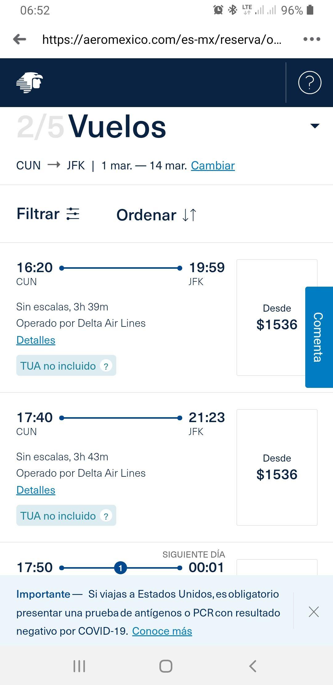 Aeromexico, Cun a JFK NY vuelo sin escalas aeromexico