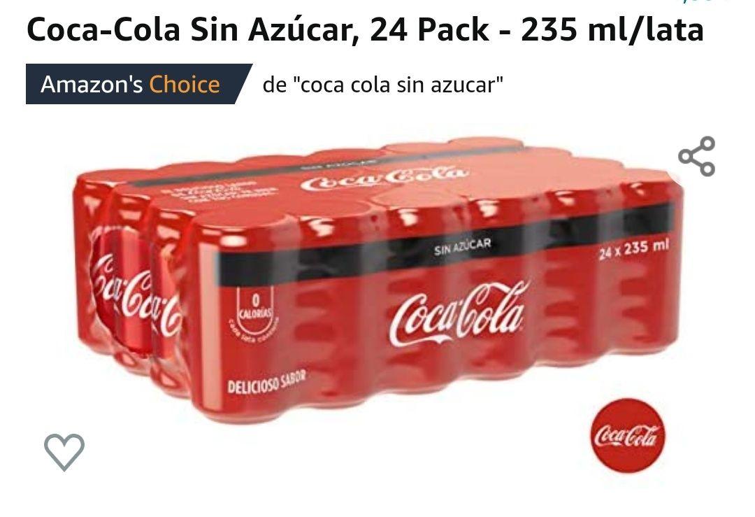 Amazon: Coca-Cola Sin Azúcar, 24 Pack - 235 ml/lata.