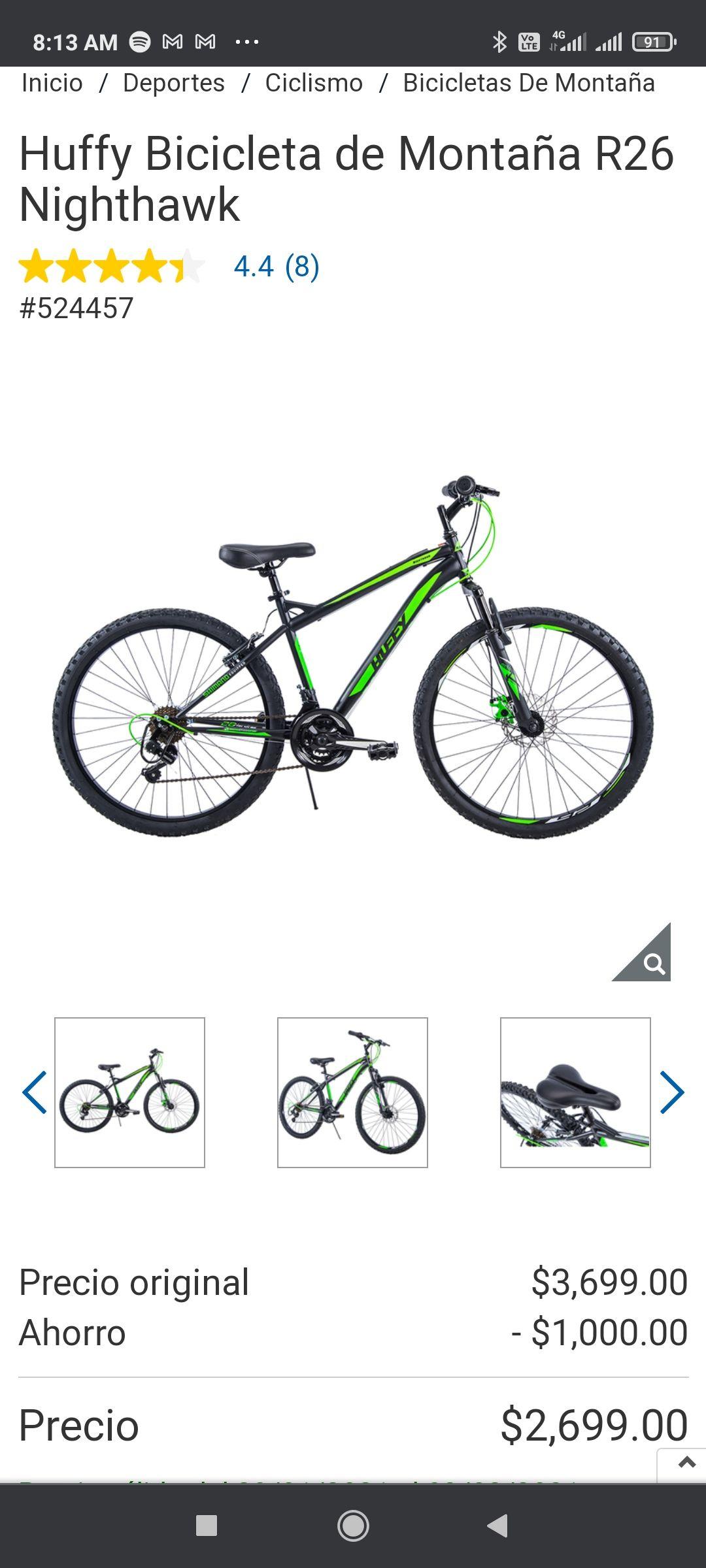 Costco Huffy Bicicleta de Montaña R26 Nighthawk