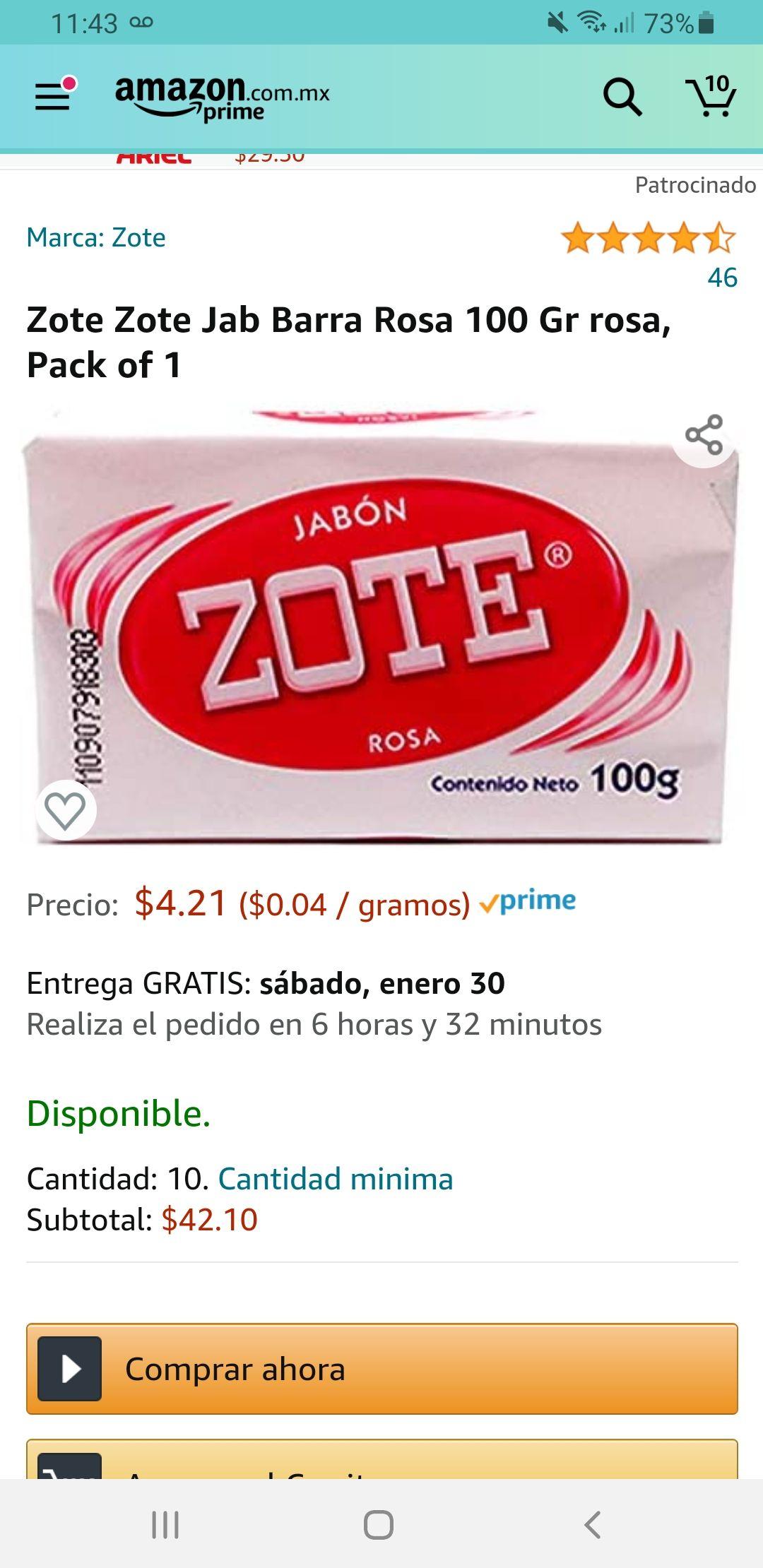 Amazon: 10 Jabones zote Rosa 100g
