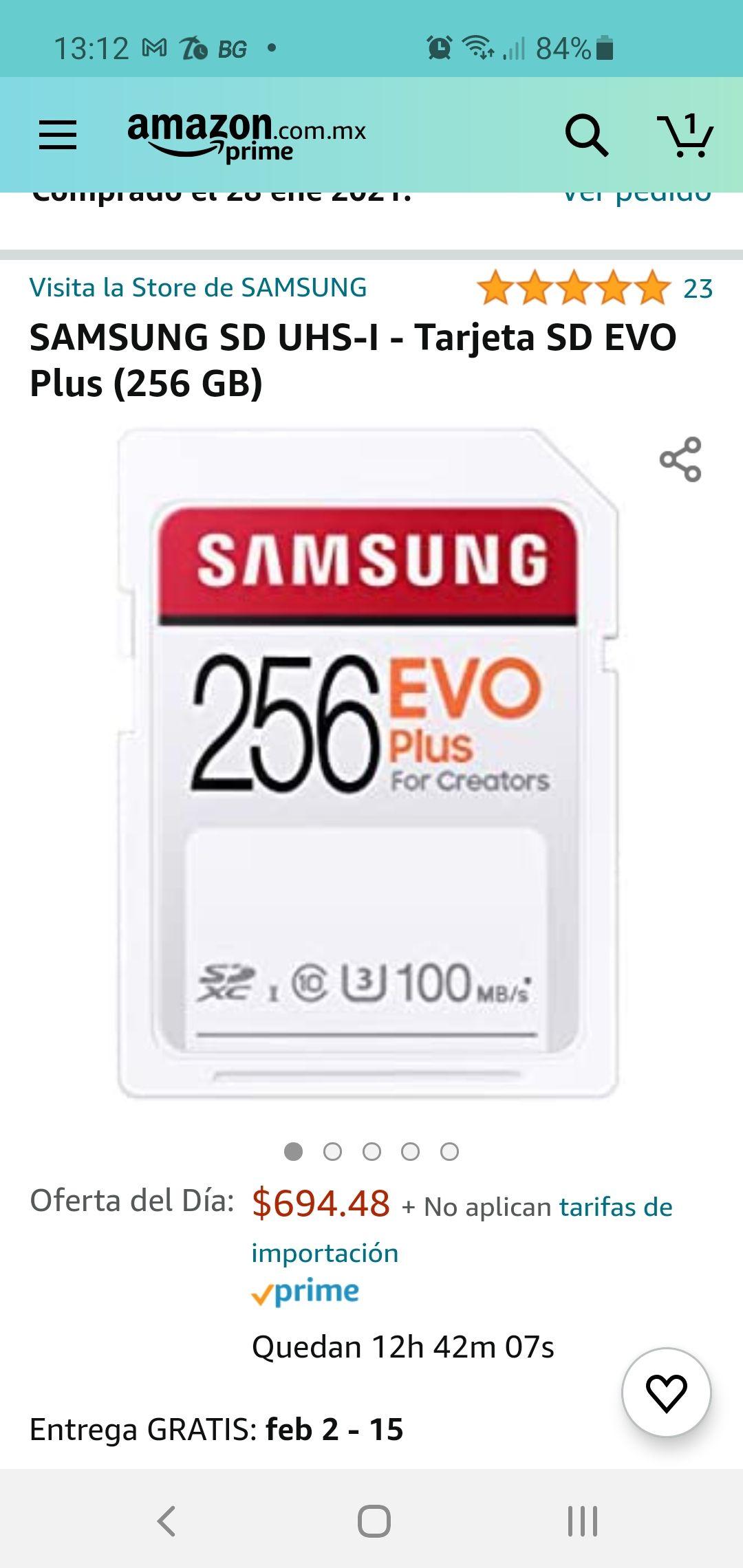 Amazon: SAMSUNG SD UHS-I - Tarjeta SD EVO 256GB