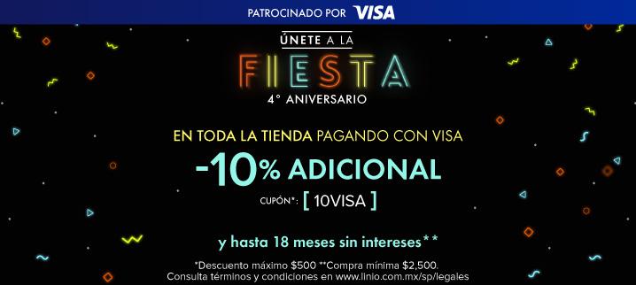 Linio: Promociones de aniversario 10% ó 15% de Desc. en toda la tienda pagando con Visa y envío gratis en menores a 10 kg