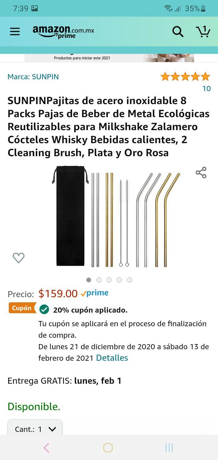 Amazon: 8 popotes de acero inoxidable + 2 limpiadores + cupón