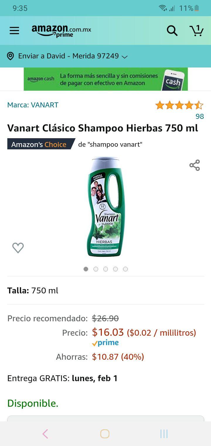 Amazon: shampoo vanart de 750ml