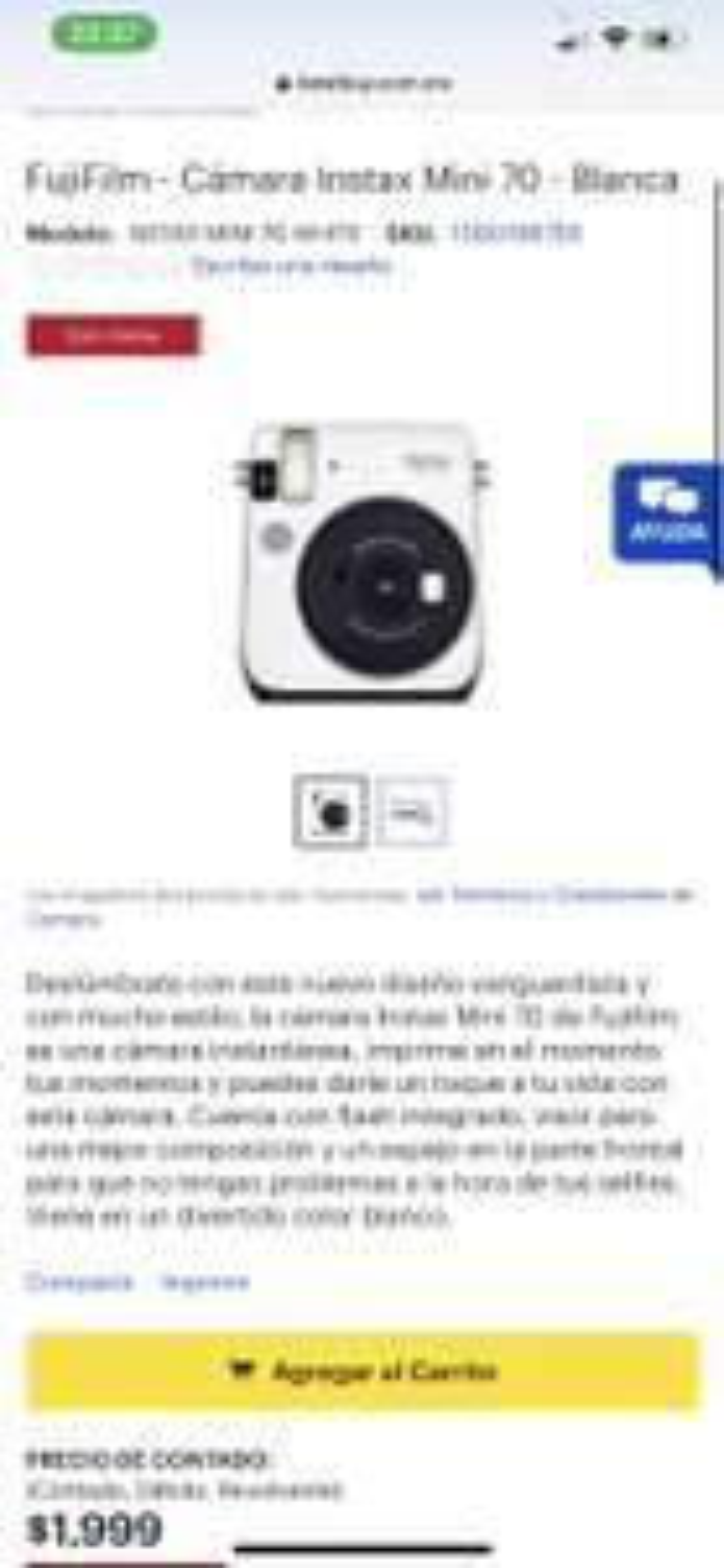 Best Buy: FujiFilm - Cámara Instax Mini 70